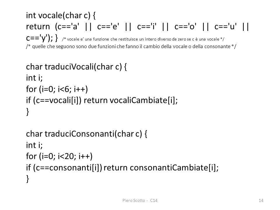 char traduciVocali(char c) { int i; for (i=0; i<6; i++)