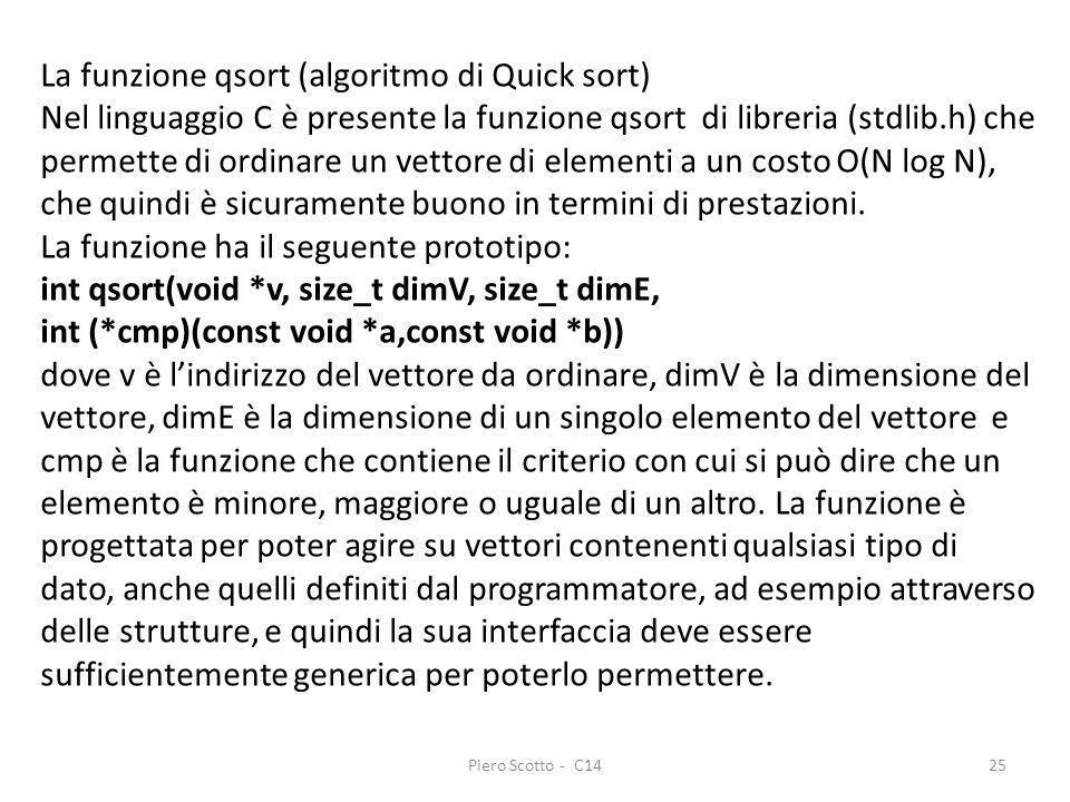 La funzione qsort (algoritmo di Quick sort)