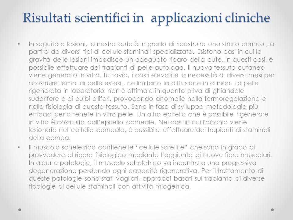 Risultati scientifici in applicazioni cliniche