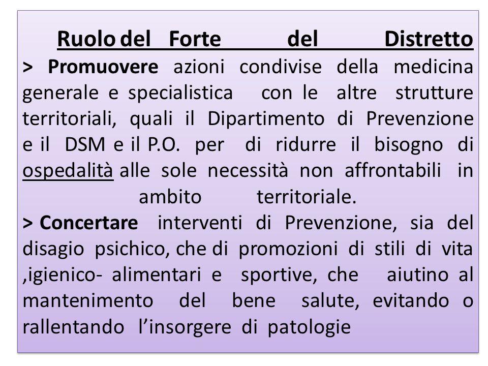 Ruolo del Forte del Distretto > Promuovere azioni condivise della medicina generale e specialistica con le altre strutture territoriali, quali il Dipartimento di Prevenzione e il DSM e il P.O.