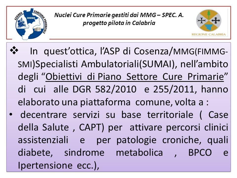 Nuclei Cure Primarie gestiti dai MMG – SPEC. A