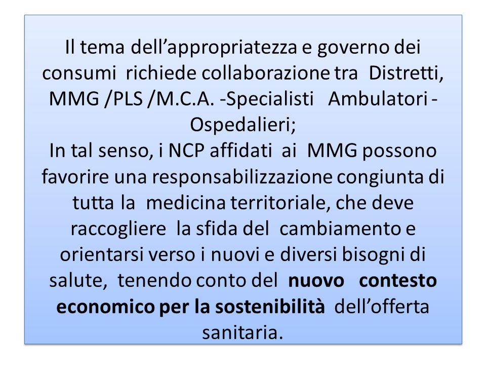 Il tema dell'appropriatezza e governo dei consumi richiede collaborazione tra Distretti, MMG /PLS /M.C.A.