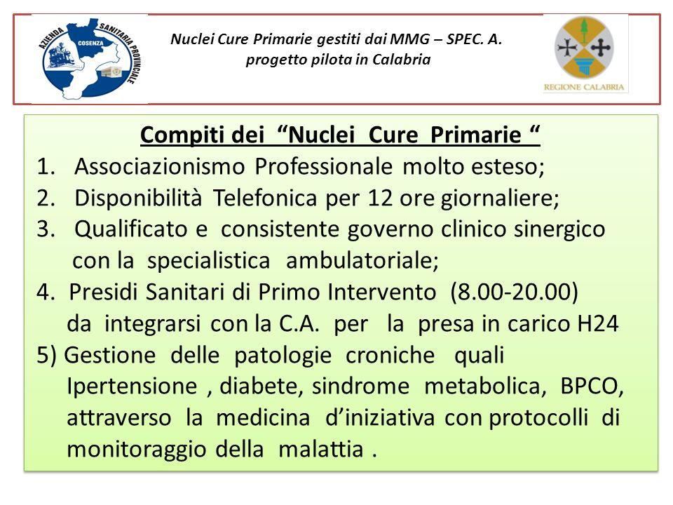 Compiti dei Nuclei Cure Primarie