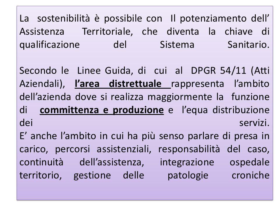 La sostenibilità è possibile con Il potenziamento dell' Assistenza Territoriale, che diventa la chiave di qualificazione del Sistema Sanitario.
