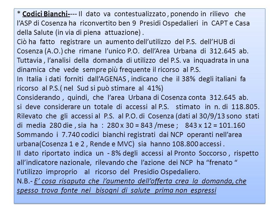 * Codici Bianchi---- Il dato va contestualizzato , ponendo in rilievo che l'ASP di Cosenza ha riconvertito ben 9 Presidi Ospedalieri in CAPT e Casa della Salute (in via di piena attuazione) .