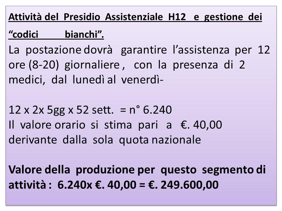 Attività del Presidio Assistenziale H12 e gestione dei codici