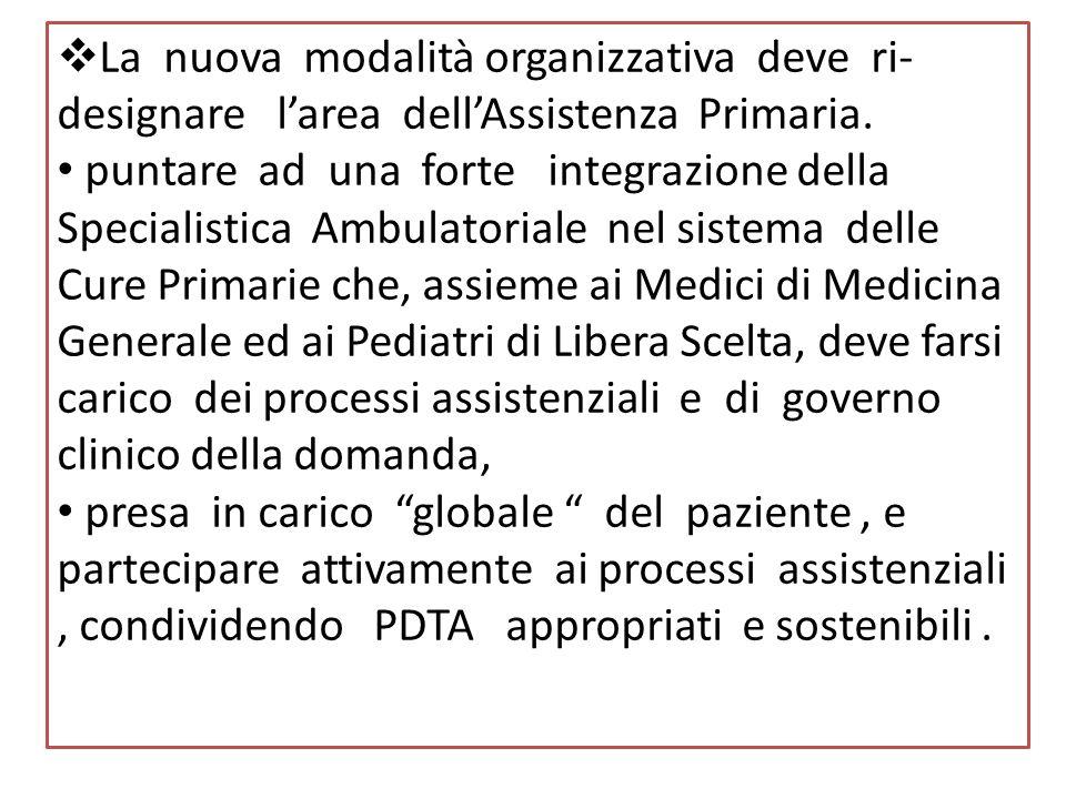 La nuova modalità organizzativa deve ri-designare l'area dell'Assistenza Primaria.
