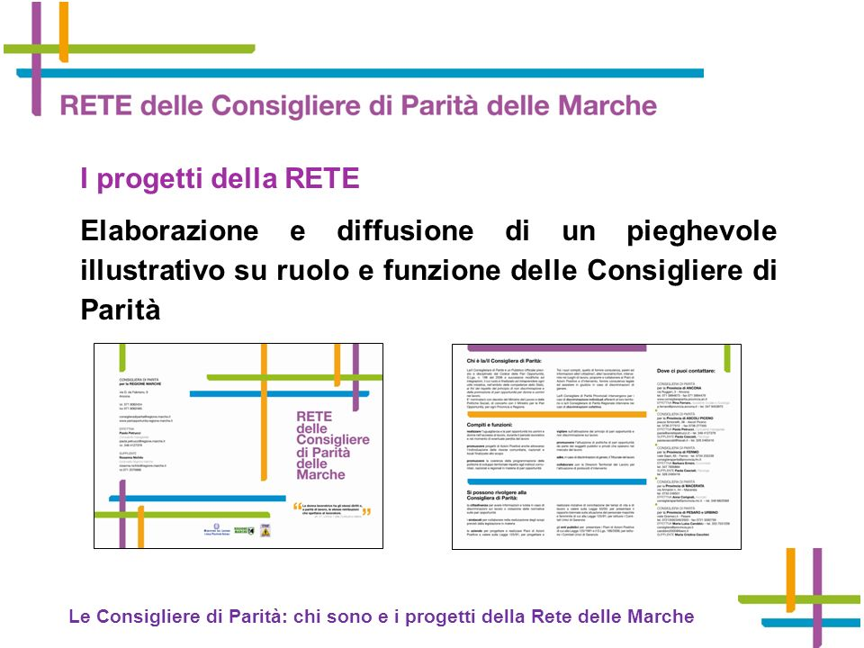 I progetti della RETE Elaborazione e diffusione di un pieghevole illustrativo su ruolo e funzione delle Consigliere di Parità.