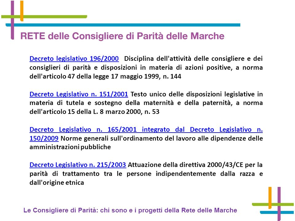 Decreto legislativo 196/2000 Disciplina dell attività delle consigliere e dei consiglieri di parità e disposizioni in materia di azioni positive, a norma dell articolo 47 della legge 17 maggio 1999, n. 144