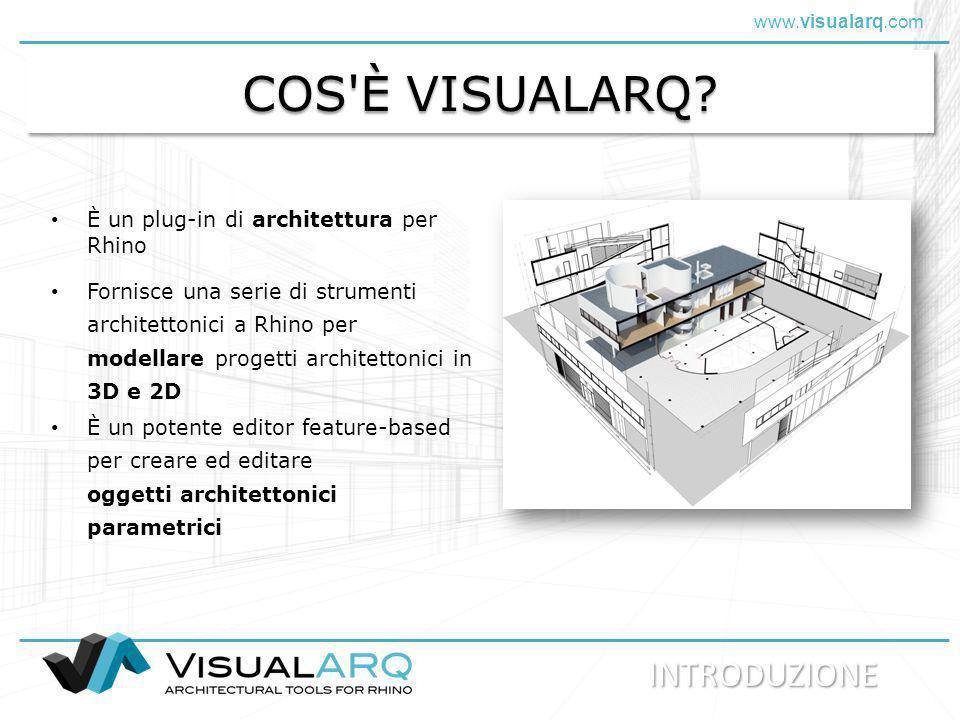 COS È VISUALARQ INTRODUZIONE È un plug-in di architettura per Rhino