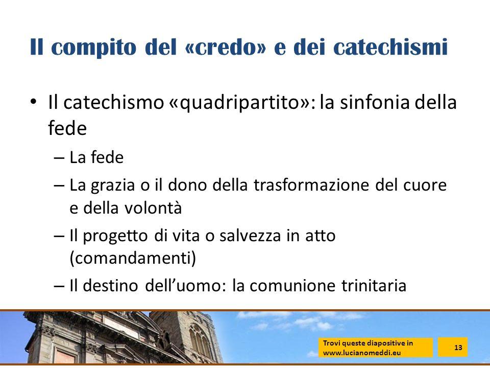 Il compito del «credo» e dei catechismi