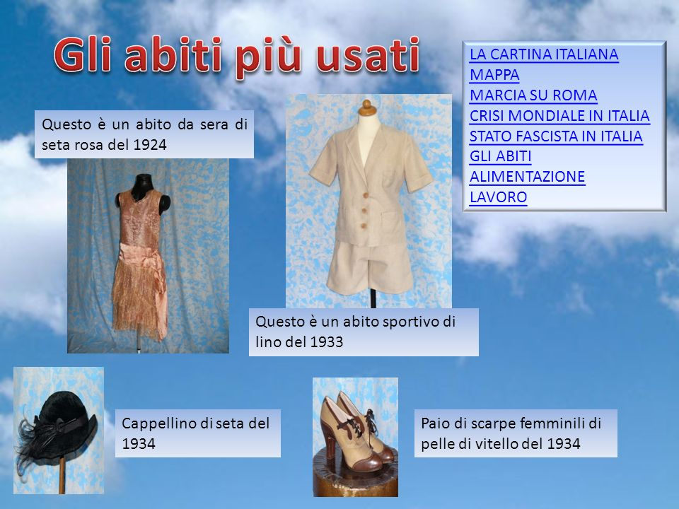 Gli abiti più usati LA CARTINA ITALIANA MAPPA MARCIA SU ROMA