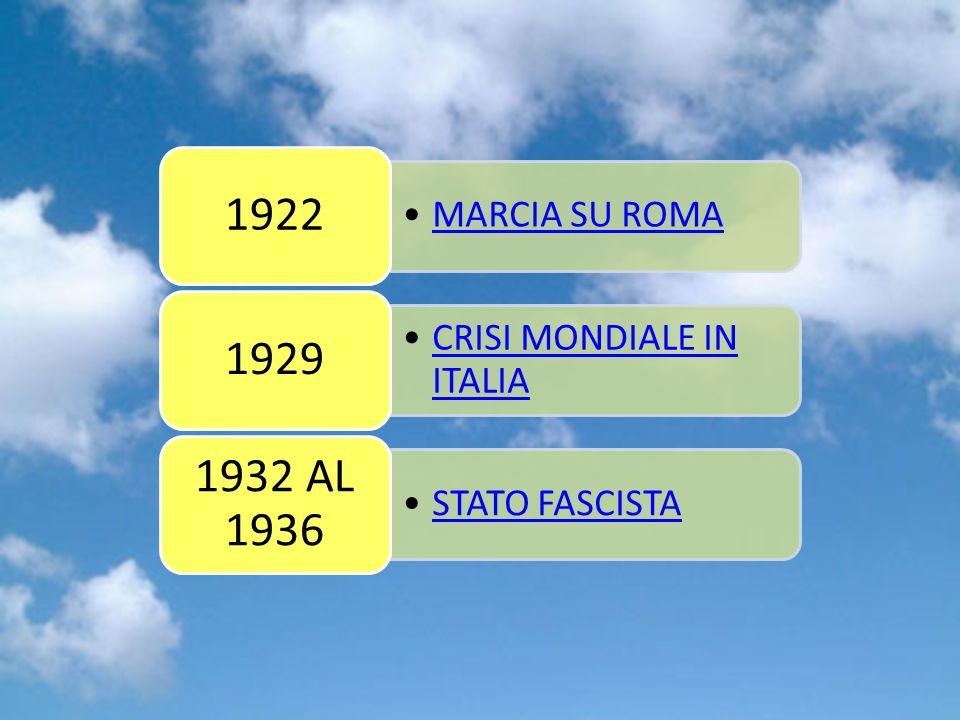 Gruppo 5 1922 MARCIA SU ROMA 1929 CRISI MONDIALE IN ITALIA