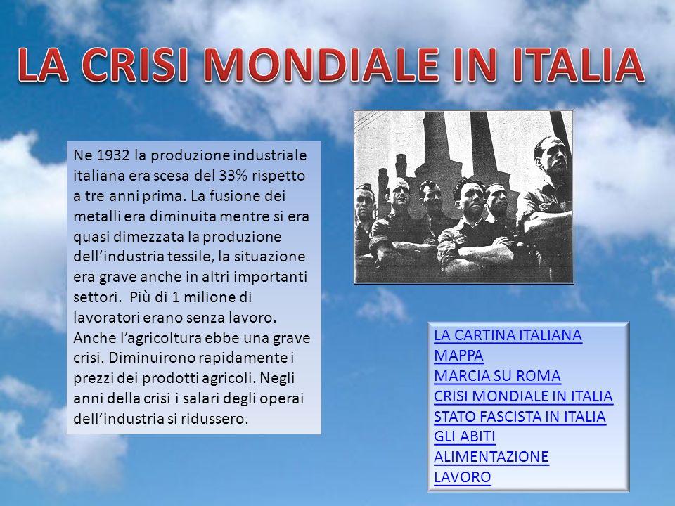 LA CRISI MONDIALE IN ITALIA