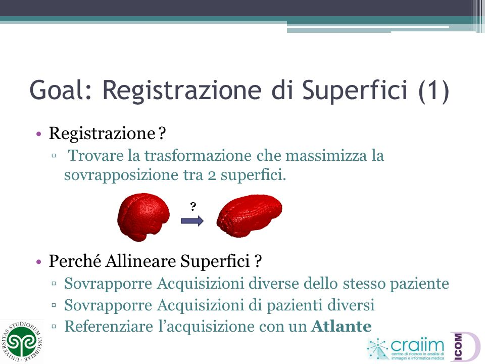Goal: Registrazione di Superfici (1)