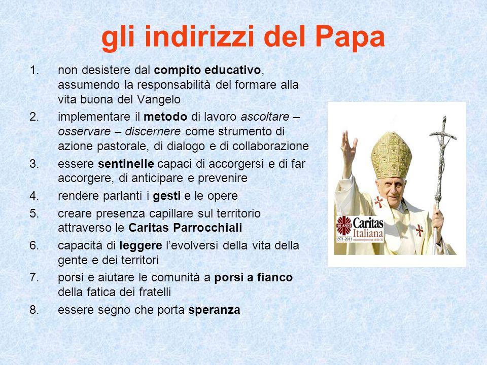 gli indirizzi del Papa non desistere dal compito educativo, assumendo la responsabilità del formare alla vita buona del Vangelo.