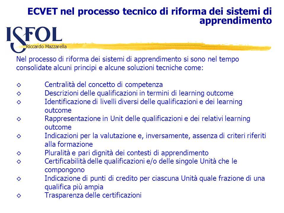 ECVET nel processo tecnico di riforma dei sistemi di apprendimento