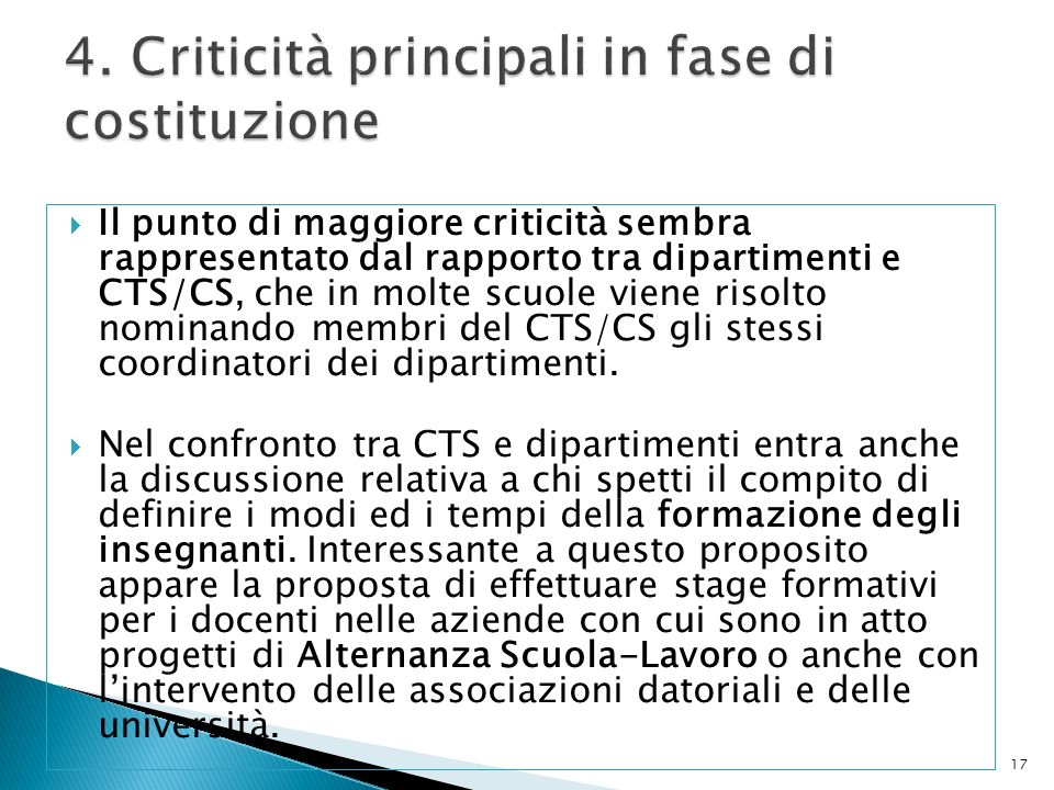 4. Criticità principali in fase di costituzione
