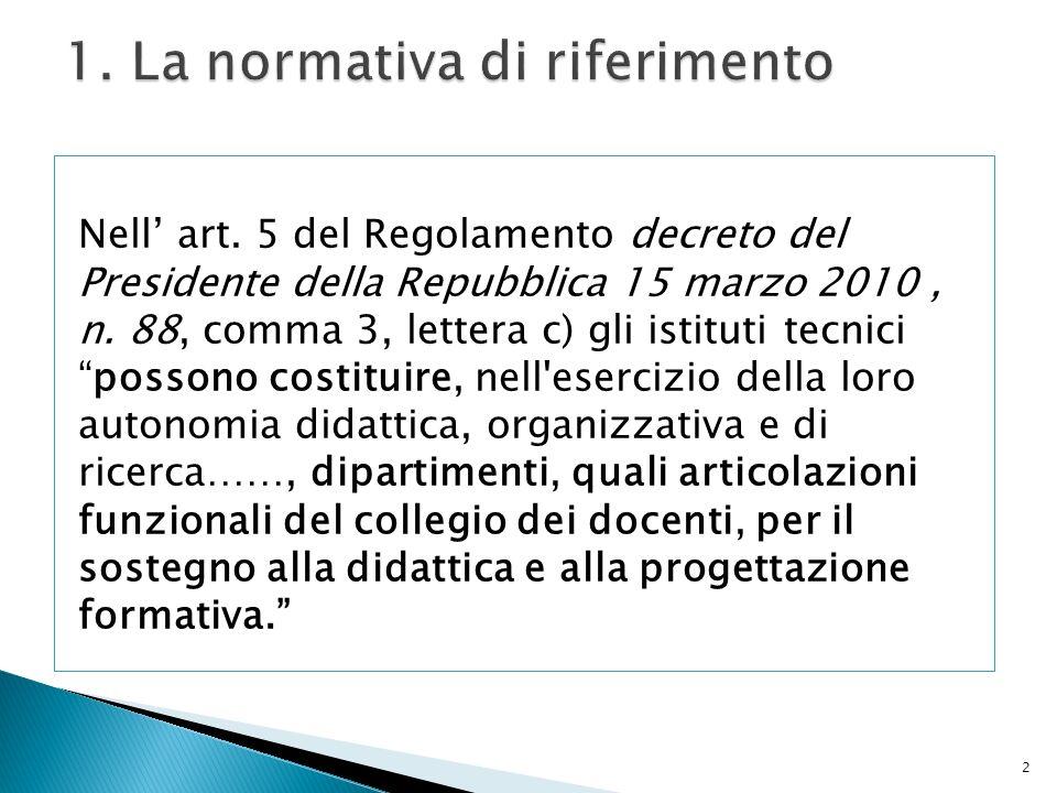 1. La normativa di riferimento