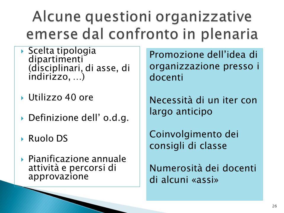 Alcune questioni organizzative emerse dal confronto in plenaria