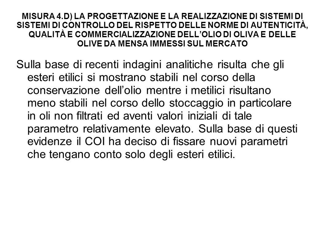 Misura 4.D) La progettazione e la realizzazione di sistemi di sistemi di controllo del rispetto delle norme di autenticità, qualità e commercializzazione dell'olio di oliva e delle olive da mensa immessi sul mercato