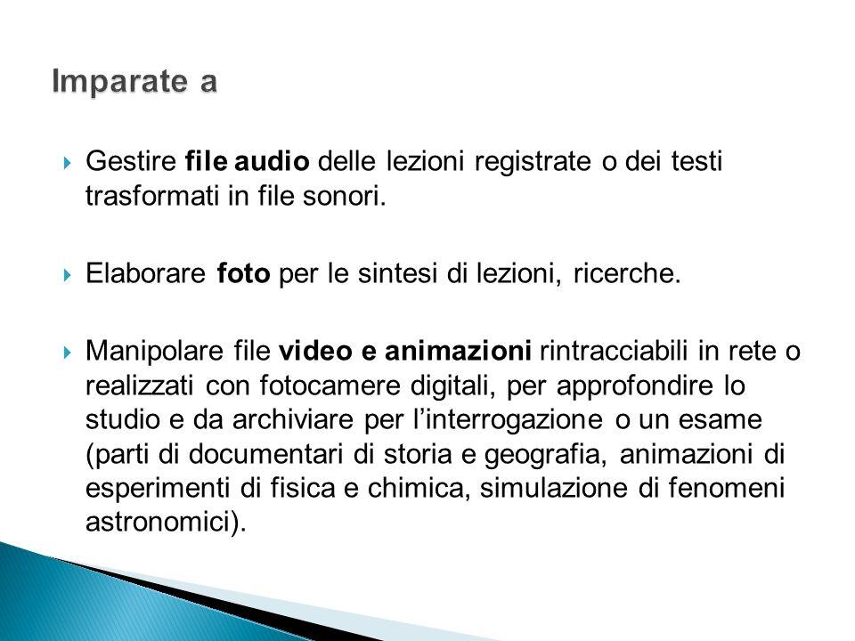 Imparate a Gestire file audio delle lezioni registrate o dei testi trasformati in file sonori. Elaborare foto per le sintesi di lezioni, ricerche.