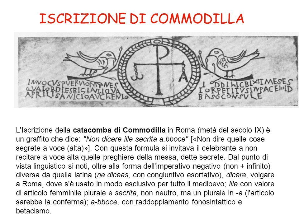 ISCRIZIONE DI COMMODILLA