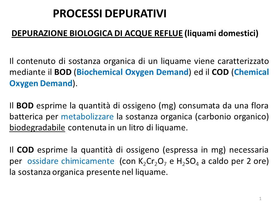 PROCESSI DEPURATIVI DEPURAZIONE BIOLOGICA DI ACQUE REFLUE (liquami domestici)