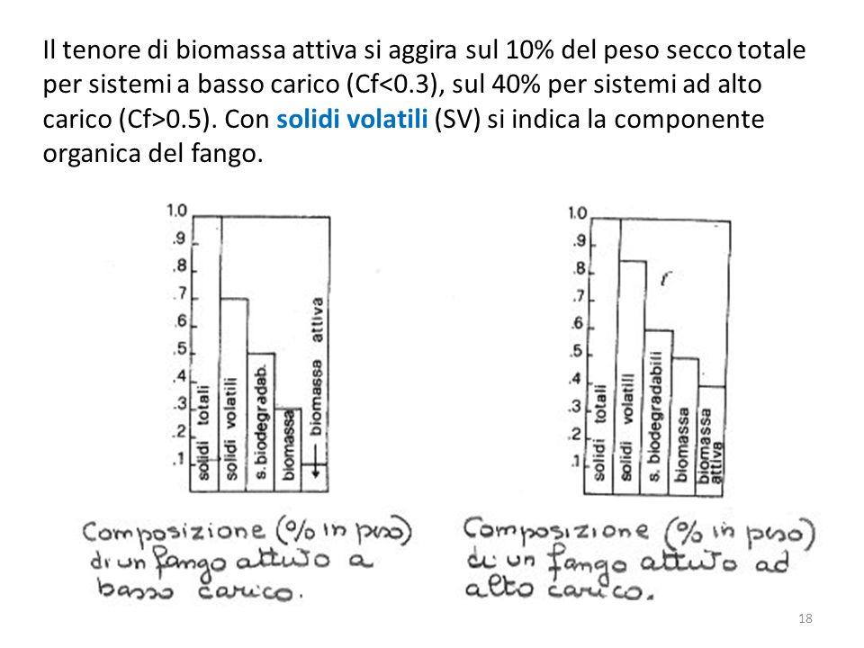 Il tenore di biomassa attiva si aggira sul 10% del peso secco totale per sistemi a basso carico (Cf<0.3), sul 40% per sistemi ad alto carico (Cf>0.5).