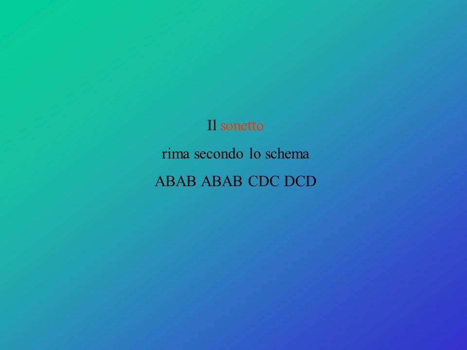 Il sonetto rima secondo lo schema ABAB ABAB CDC DCD