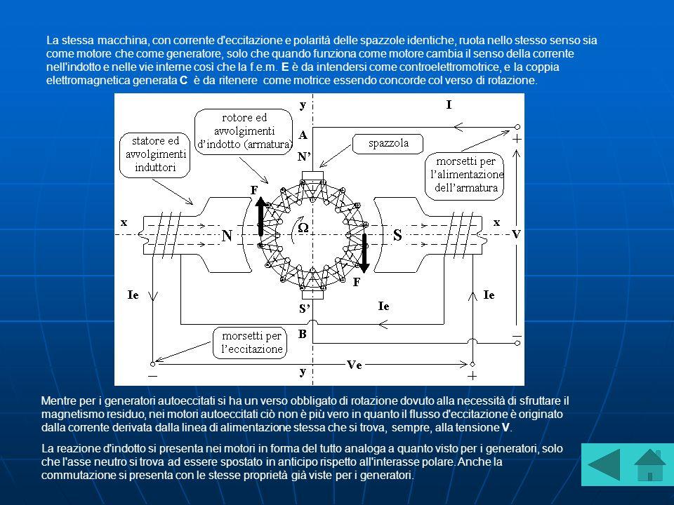 La stessa macchina, con corrente d eccitazione e polarità delle spazzole identiche, ruota nello stesso senso sia come motore che come generatore, solo che quando funziona come motore cambia il senso della corrente nell indotto e nelle vie interne così che la f.e.m. E è da intendersi come controelettromotrice, e la coppia elettromagnetica generata C è da ritenere come motrice essendo concorde col verso di rotazione.