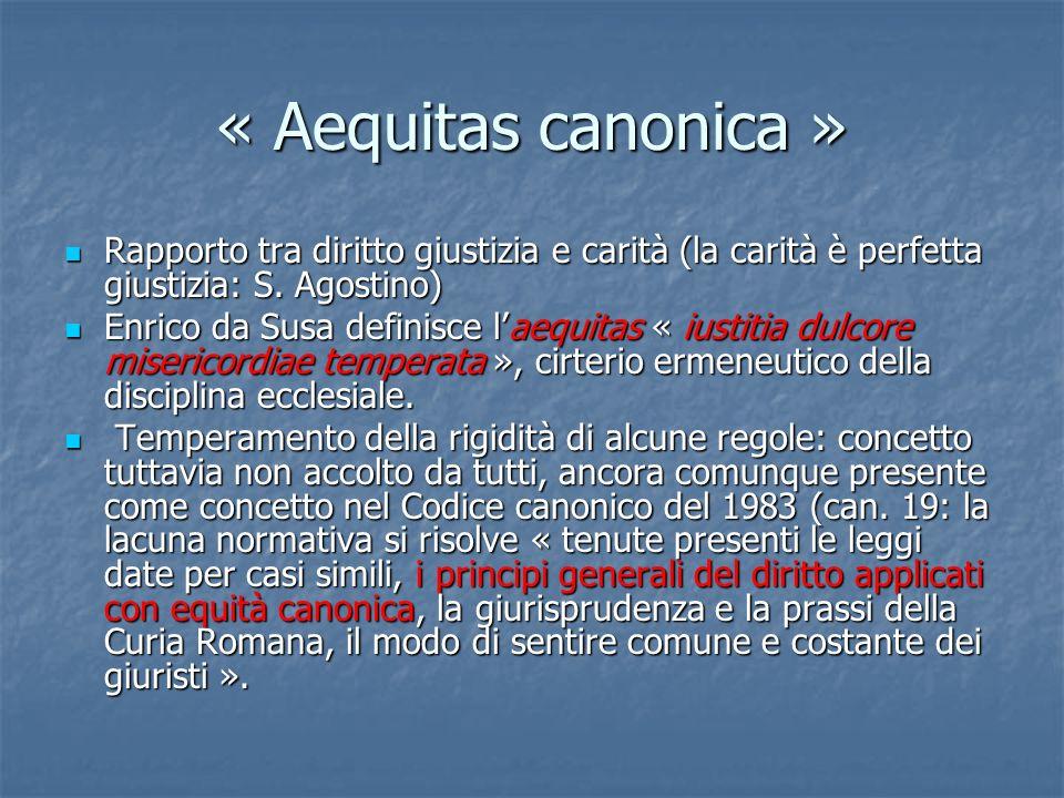 « Aequitas canonica » Rapporto tra diritto giustizia e carità (la carità è perfetta giustizia: S. Agostino)