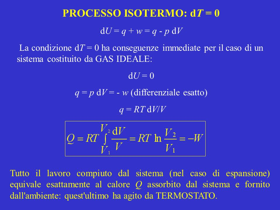 PROCESSO ISOTERMO: dT = 0