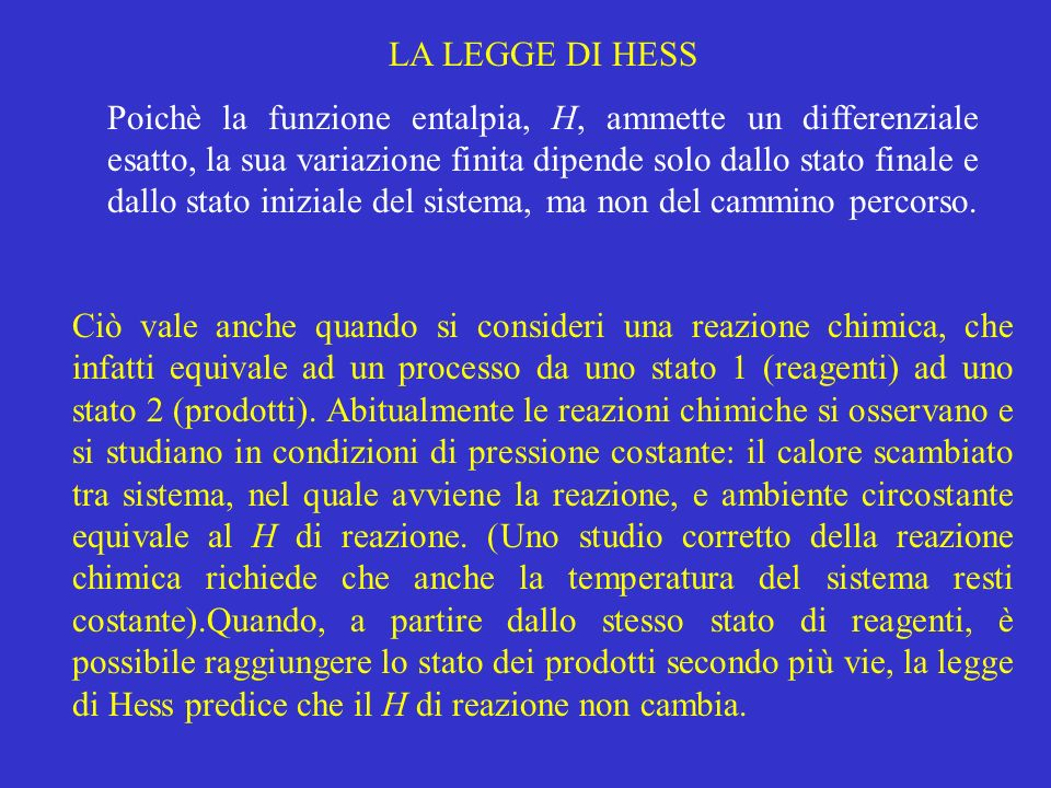 LA LEGGE DI HESS