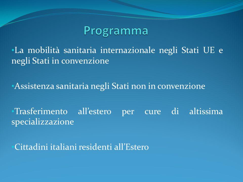 ProgrammaLa mobilità sanitaria internazionale negli Stati UE e negli Stati in convenzione. Assistenza sanitaria negli Stati non in convenzione.