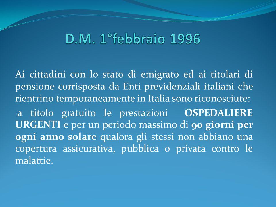 D.M. 1°febbraio 1996