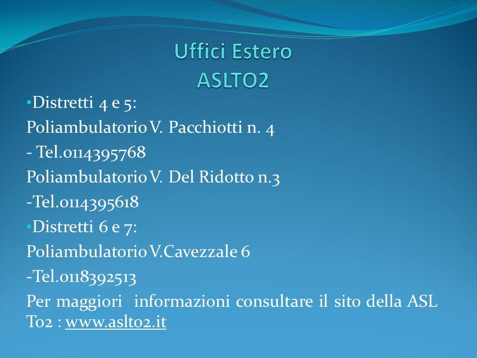 Uffici Estero ASLTO2 Distretti 4 e 5:
