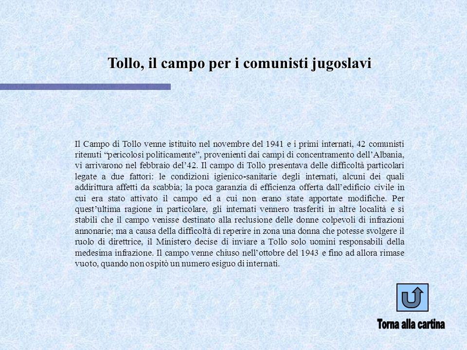 Tollo, il campo per i comunisti jugoslavi