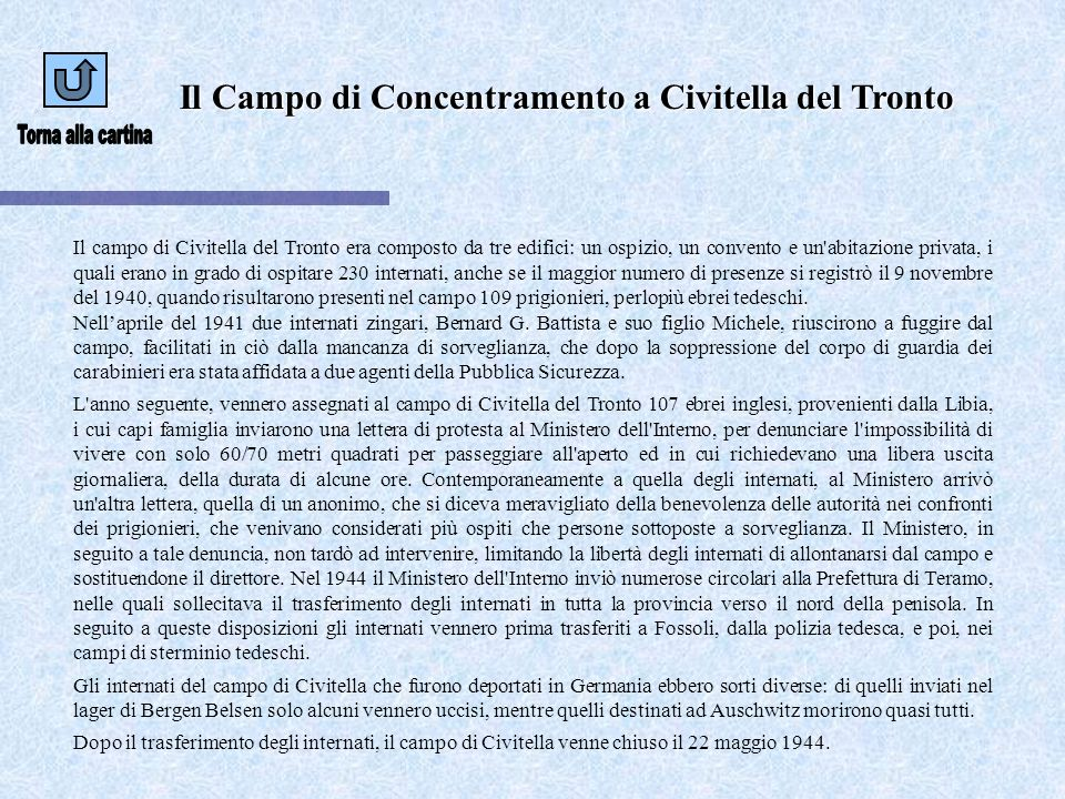 Torna alla cartina Il Campo di Concentramento a Civitella del Tronto