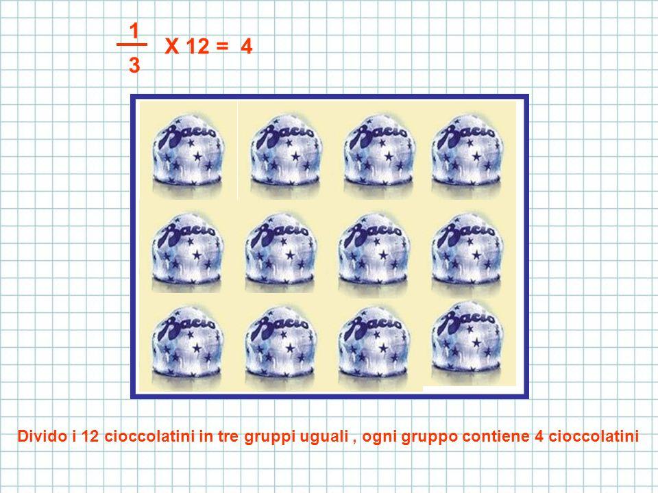 1 X 12 = 4 3 Divido i 12 cioccolatini in tre gruppi uguali , ogni gruppo contiene 4 cioccolatini