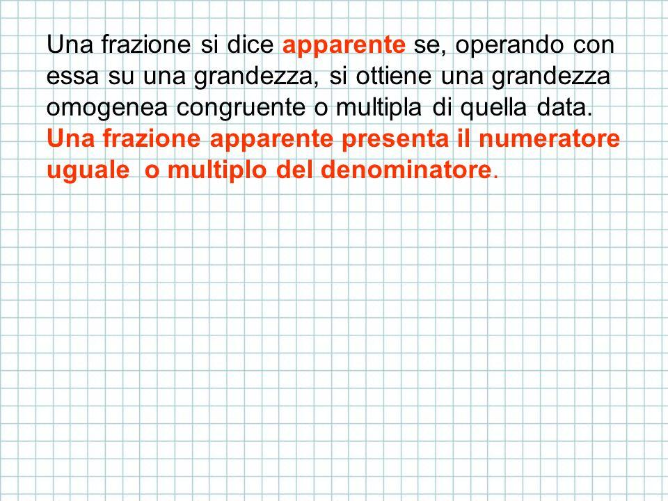 Una frazione si dice apparente se, operando con essa su una grandezza, si ottiene una grandezza omogenea congruente o multipla di quella data.