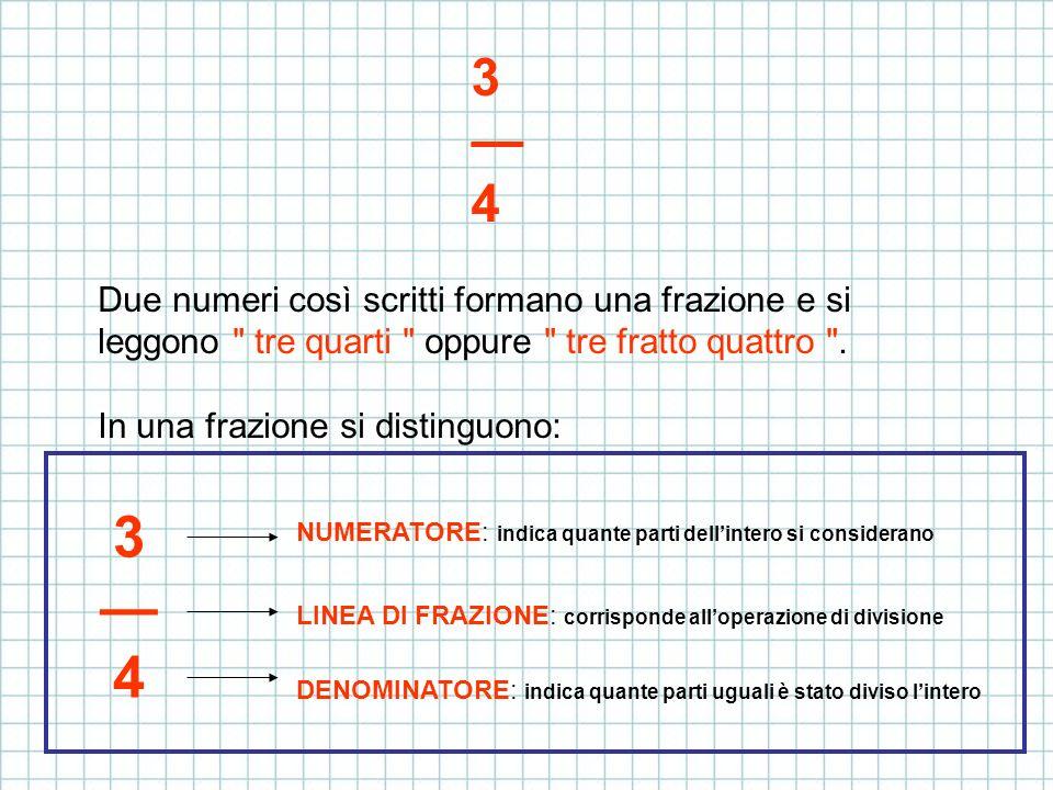 3 — 4Due numeri così scritti formano una frazione e si leggono tre quarti oppure tre fratto quattro .