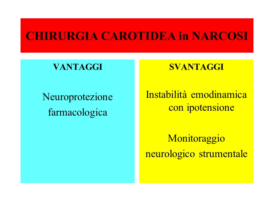 CHIRURGIA CAROTIDEA in NARCOSI