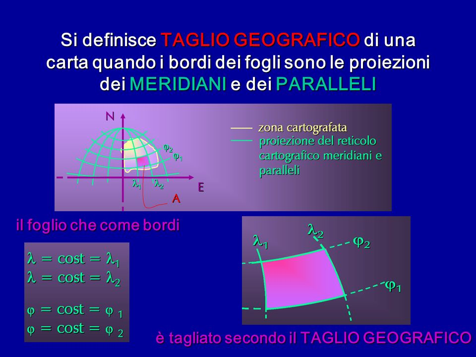 Si definisce TAGLIO GEOGRAFICO di una carta quando i bordi dei fogli sono le proiezioni dei MERIDIANI e dei PARALLELI