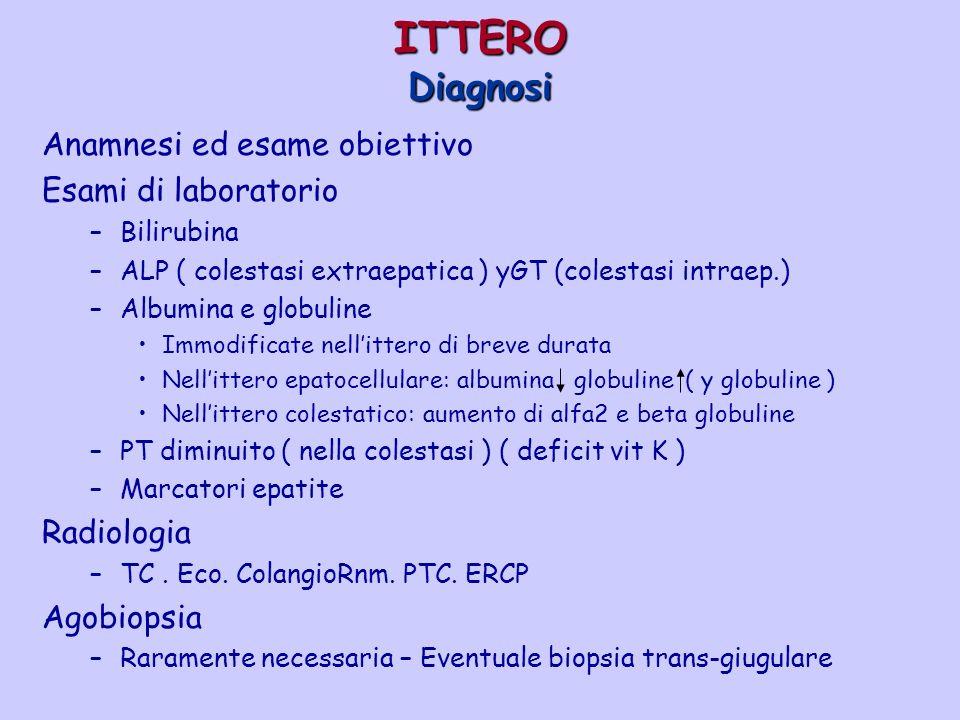 ITTERO Diagnosi Anamnesi ed esame obiettivo Esami di laboratorio