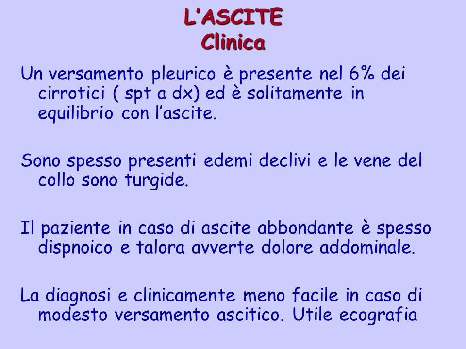 L'ASCITE Clinica Un versamento pleurico è presente nel 6% dei cirrotici ( spt a dx) ed è solitamente in equilibrio con l'ascite.
