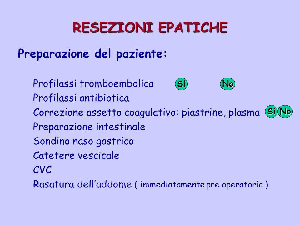 RESEZIONI EPATICHE Preparazione del paziente: