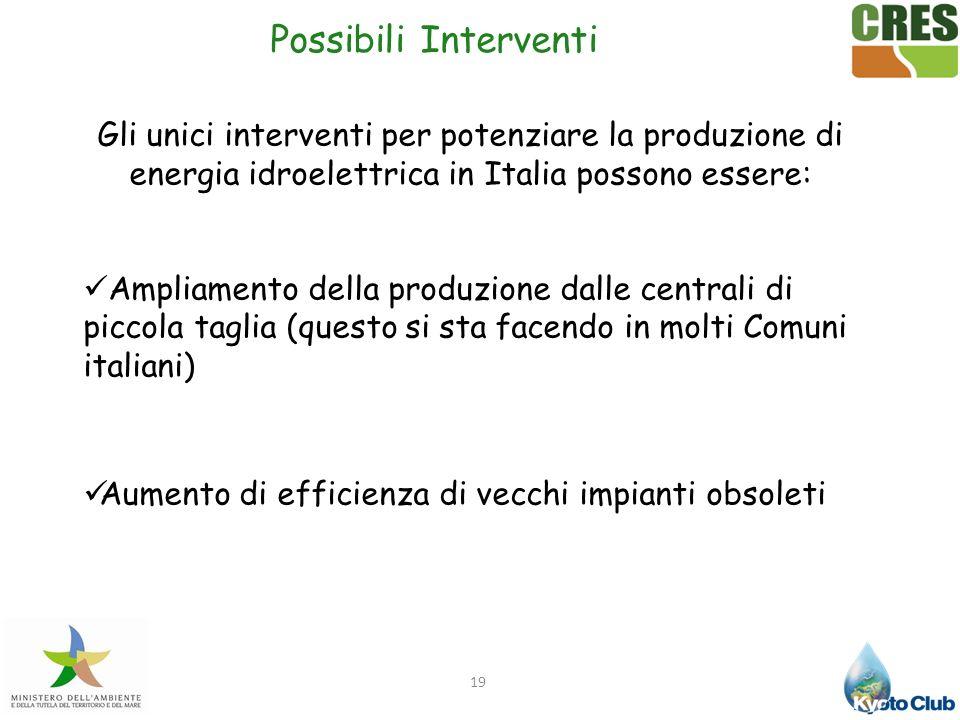 Possibili Interventi Gli unici interventi per potenziare la produzione di energia idroelettrica in Italia possono essere: