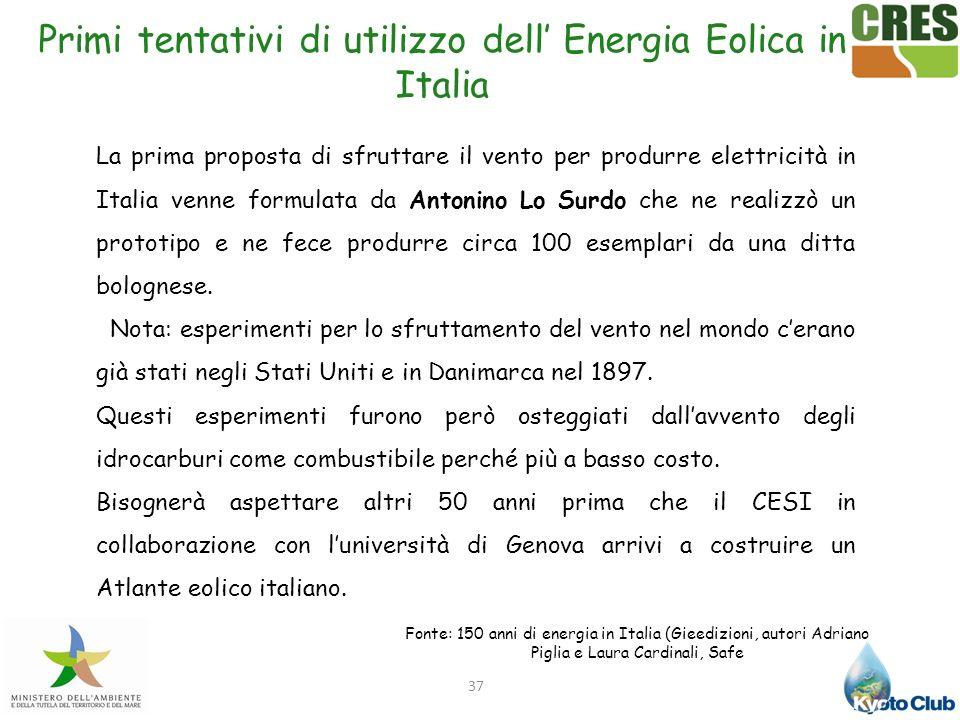 Primi tentativi di utilizzo dell' Energia Eolica in Italia