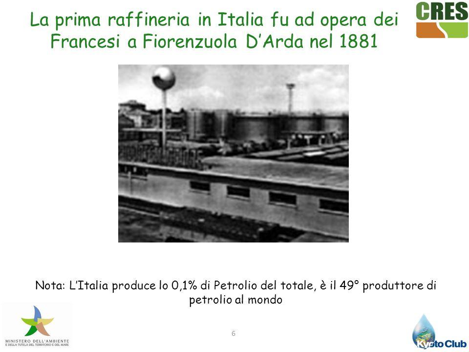 La prima raffineria in Italia fu ad opera dei Francesi a Fiorenzuola D'Arda nel 1881
